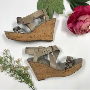 Franco Sarto   Leather Shania Wrap Wedge Sandals